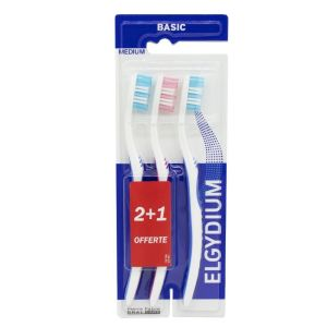 Brosse à dents Elgydium  Basic medium 2+1 offerte