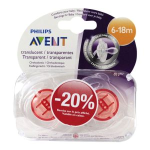Sucet Avent Silic Transp 6-18m